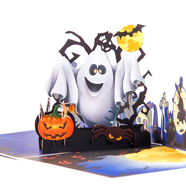 Halloween Pop.Us 3 47 Halloween Pop Up Card Pumpkin Card 3d Colorful Printing Postcard Laser Cutting Envelope Handmade Gift 6a0704 In Cards Invitations From