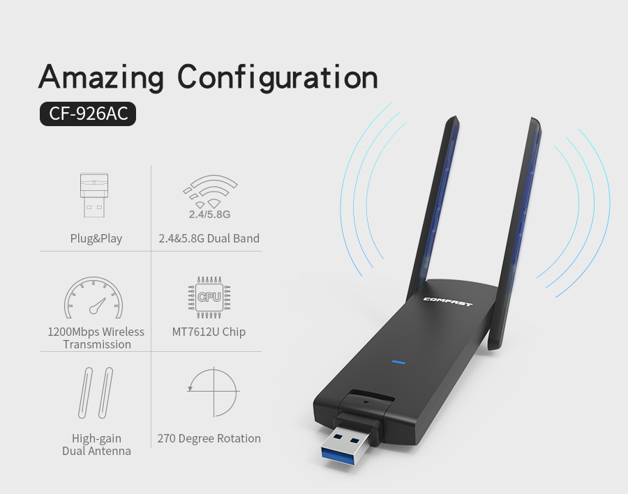 COMFAST usb wifi adapter 1200mbps Dual Band wi fi dongle font b computer b font AC