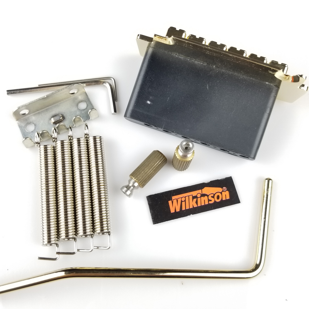 Купить с кэшбэком Wilkinson WVS50K Electric Guitar Tremolo System Bridge With matching Satin Saddles Chrome Silver Gold