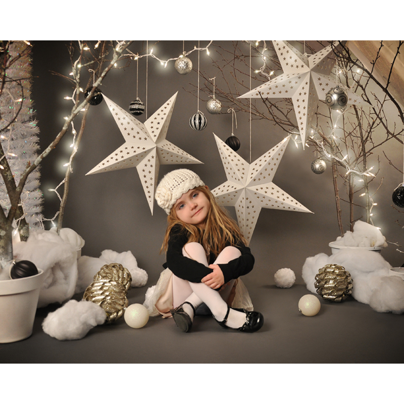Vinyl Photography Background Christmas star Computer Printed Customizd children Photo Christmas Backdrop for Photo Studio F-2212