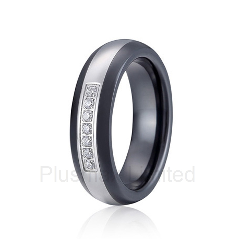 new arrival OEM/ODM born of a couple classic black ceramic and anti allergic titanium couple wedding rings for women