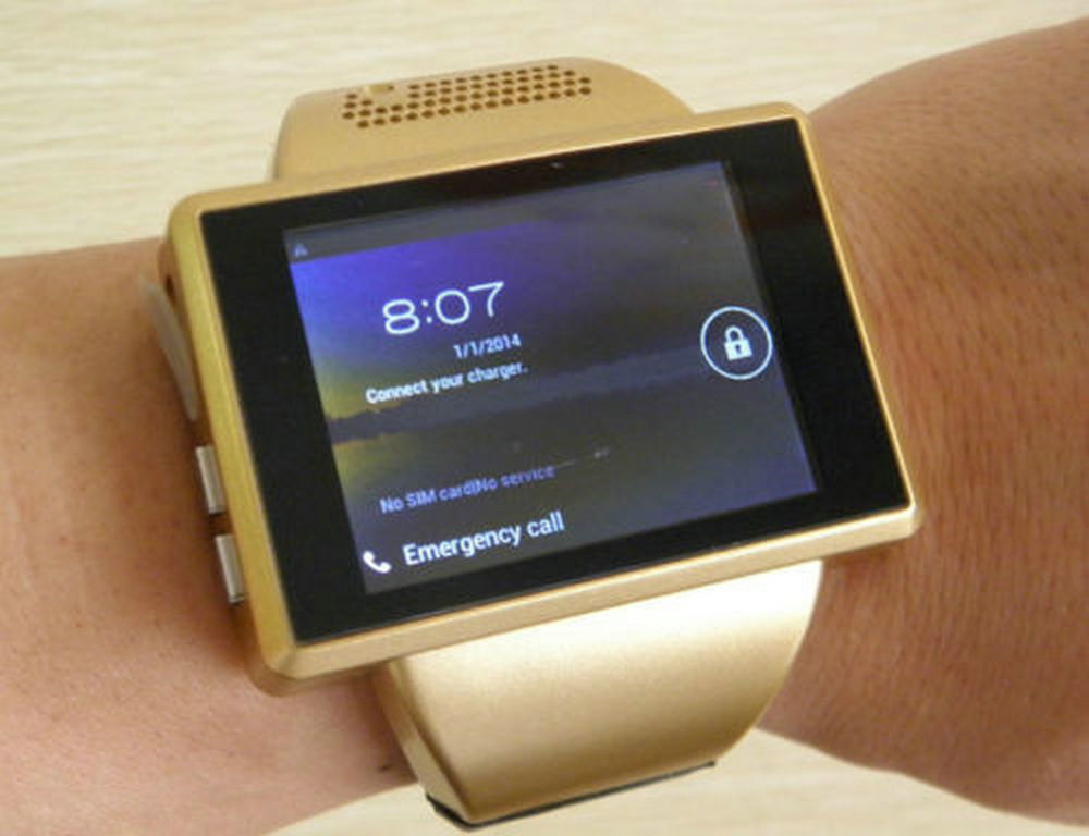 Gold AN1 font b Smart b font Watch Cell Phone Android 4 1 Dual Core 2