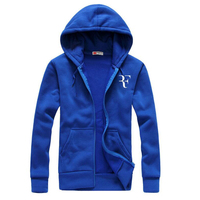 Fashion Roger Federer RF Print Hoodies Men Casual Hip Hop Long Sleeve Mens Zipper Hoodie Sweatshirts