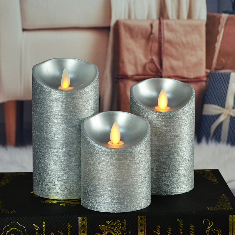 3Pcs Flashing Battery Operated LED Candle Lights Remote Control Flameless Silver Candle Lamps for Home Christmas Decoration
