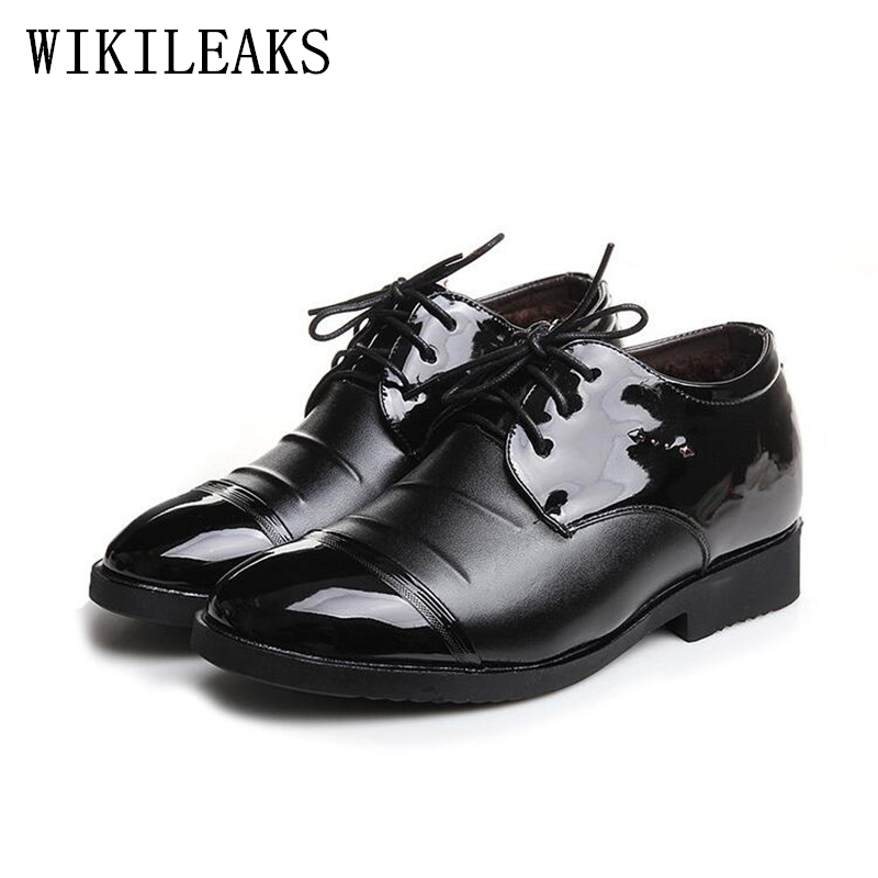 winter shoes men designer version wedding dress shoes luxury brand 2018 short ankle boots Patent Leather oxford shoes for men