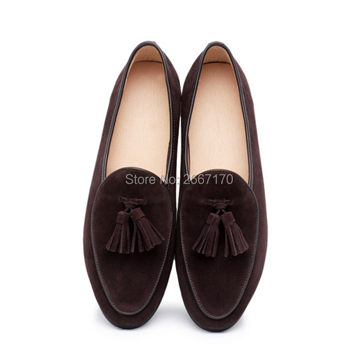 Top Kwaliteit Gentlemen Business Casual Schoenen Plus Size Slip Op Flats Man Bruin Blauw Groen Suède Tassel Loafers mannen - 2
