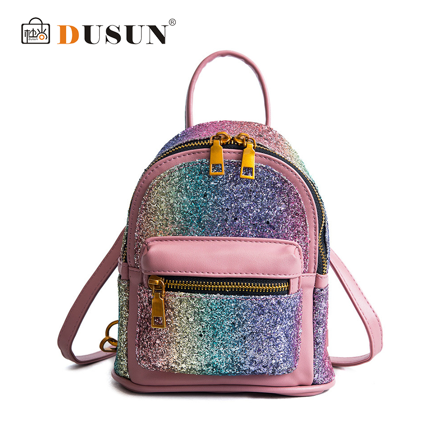 DUSUN Glitter Women Backpack Sequins PU Leather Children Back Pack Female Small Mochilas For Girls Lady Shoulder Bags Bling Sac