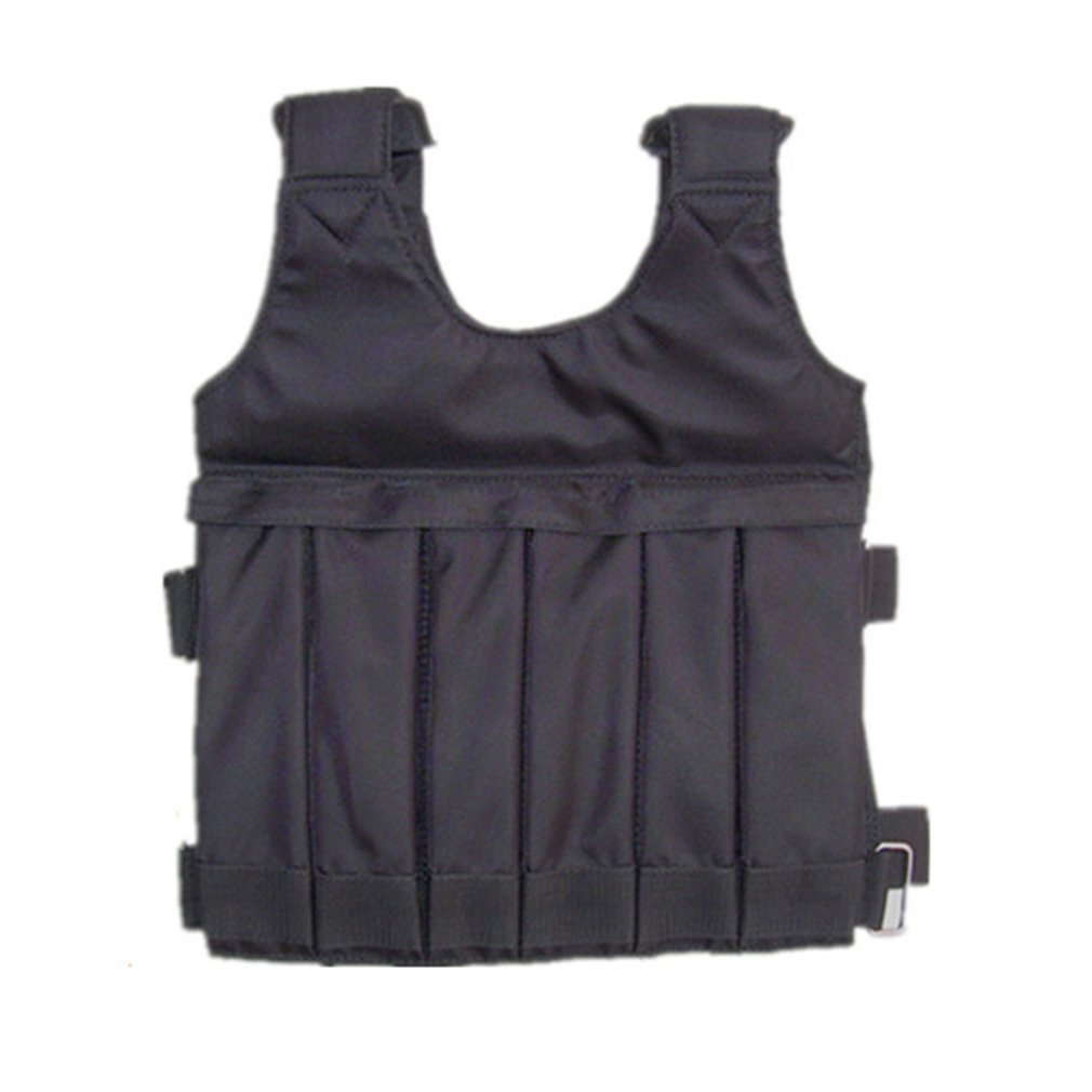 20kg Loading Weighted Vest For Boxing Training Equipment Adjustable Exercise Waistcoat Black Jacket Swat Steel Bar Clothing