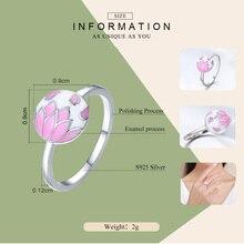 Falling Flowers Pink Enamel Sterling Silver Ring For Women