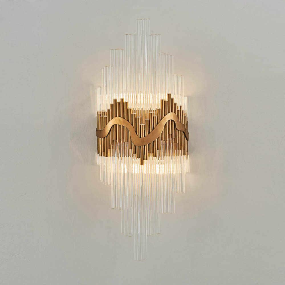 Постмодерн роскошный хрустальный стеклянный настенный светильник вилла отель Гостиная Спальня коридор прикроватный настенный светильник бра светильники