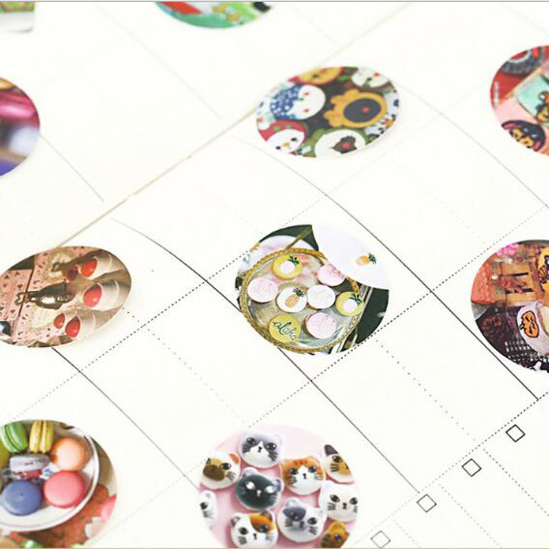 Купить с кэшбэком kawaii Macaron Mini Paper Decoration DIY Scrapbook Notebook Album Sticker Stationery Kawaii Girl Paper Sticker 46pcs/box