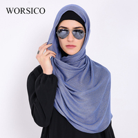 WORSICO Muslim Hijab Women Square Scarf Turban Hijab Head Coverings Polyester Wraps Fashion Scarves Islamic Bandana