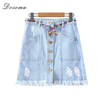 DOSOM Women Vintage Denim Skirt Single Button Wash Hole Fringed Mini Jeans Skirts With Belt Summer