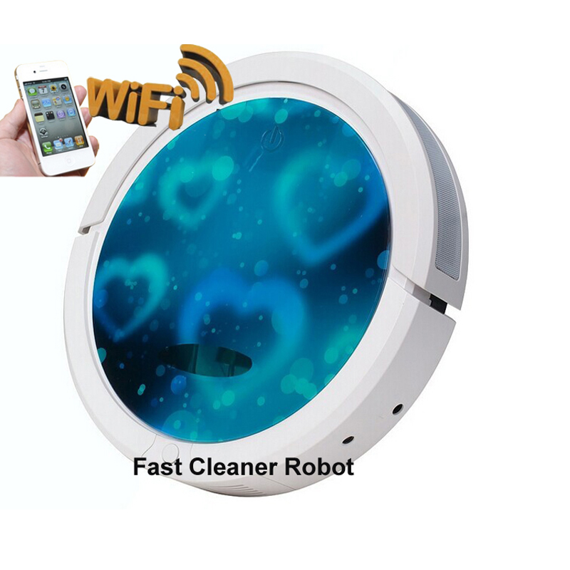 2018 Newest WIFI Smartphone App Control Blue Color Mini Vacuum Cleaner Robot QQ6 With Water Tank 3350mAH Li-ion Battery free ship to russia wifi smartphone app control mini robot vacuum cleaner qq6 with wet and dry mop water tank lithium battery