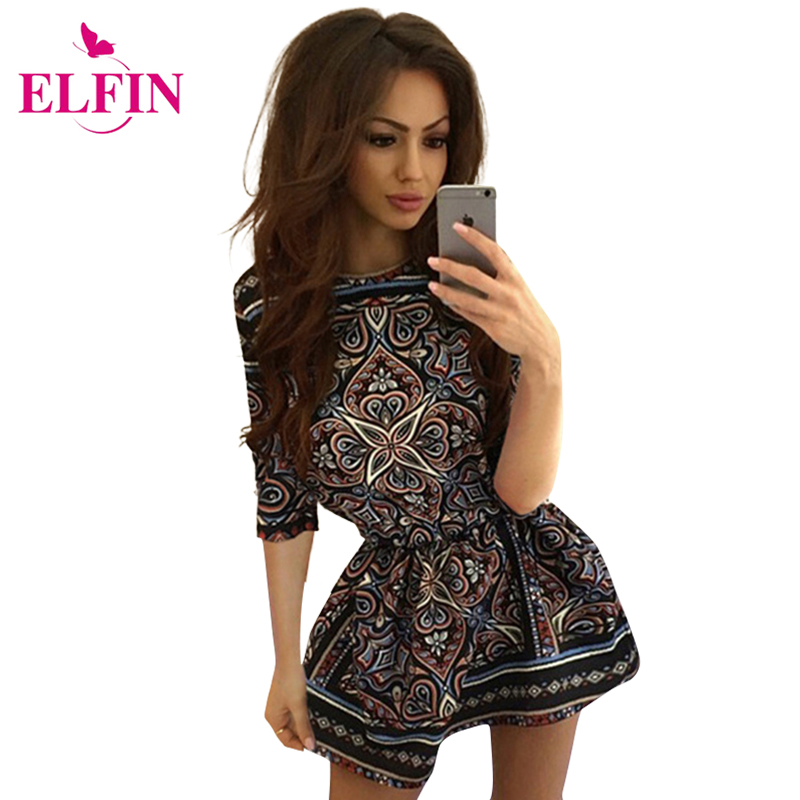 Women Desses Vintage Print Slim A-Line Dress Half Sleeve O Neck Ladies Casual Dresses Clothing Vestidos LJ8770R