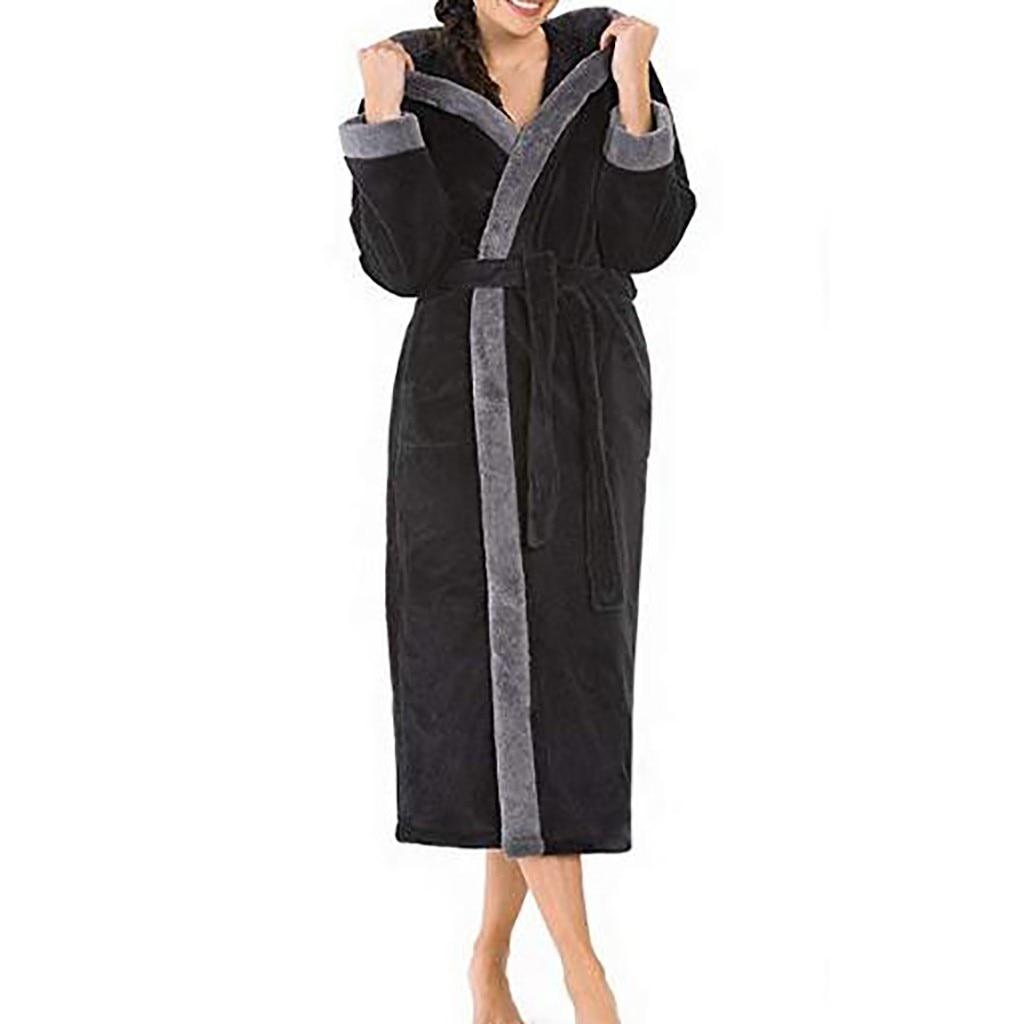 Women's Winter Hoodedlengthened Long Sleeved Plush Shawl Bathrobe Bathrobe Warm Kimono Dressing Gown Bridesmaid Robes Winter New
