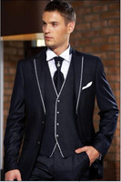 Fashion Style Two Button Dark Navy Groom Tuxedos Groomsmen Mens Wedding Suits Formal Dress Jacket Pants
