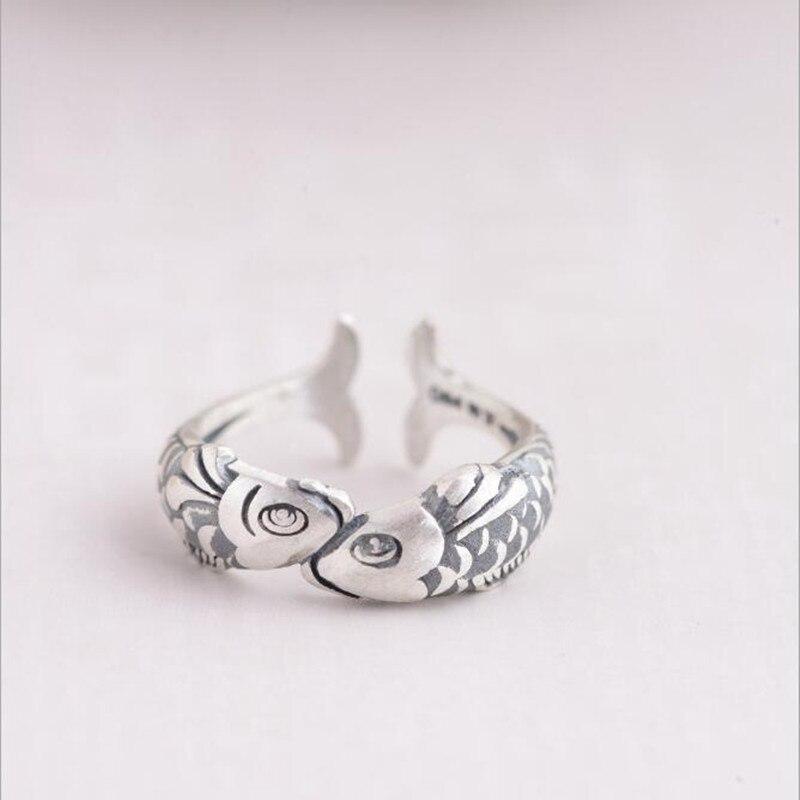 Ретро Стерлинговое Серебро 925 пробы покрытое тайским серебром модное маленькое золото рыбы элегантные женские открытые кольца SR273