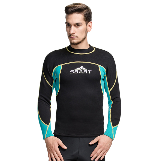 93aacf00f3 SBART neoprene wetsuit 2mm surf swim tops men long swim shirt thermal swim  top fitness dive swimming suit