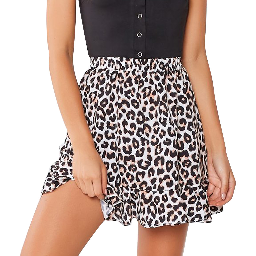 Fashion Women Leopard Print Midder Elastic Waist Ruffles Casual Mini Skirt Women Daily Casual Straight Mini Skirt G0405#20