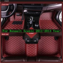 New 3D Leather Car Floor Mats For Renault  Scenic 2011-2013 Custom Auto Foot Pad Automobile Carpet Cover Waterproof Mat