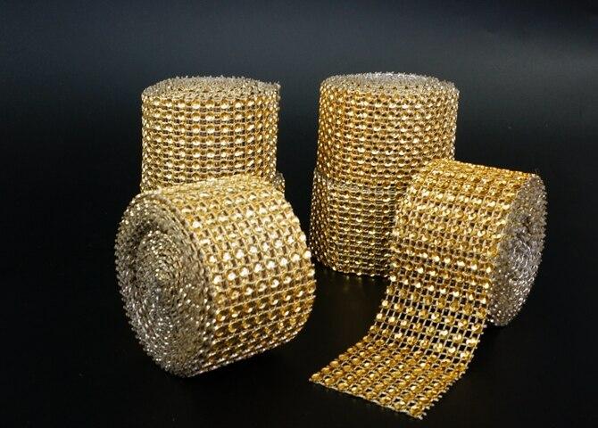 4 см * 2 м цвета: золотистый, серебристый бриллиант сетки вечерние украшения отделкой Обёрточная Бумага Ролл Искра свадебные туфли со стразами деко Кристалл Bling Торт ленты
