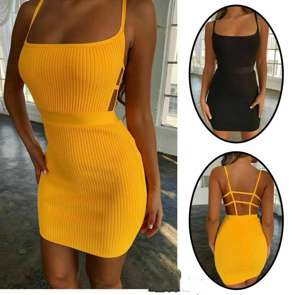 New Style Women Dresses Sleeveless Fashion Women Bandage Bodycon Solid Party Sheath Short Mini Backless Dress Fashion Hot 2019