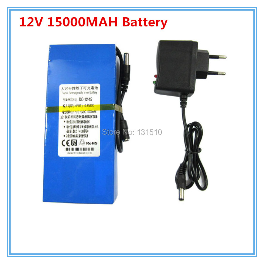 Portable <font><b>12V</b></font> DC 15000mAh <font><b>15AH</b></font> Rechargeable Li-ion Battery for wireless transmitter CCTV camera blue 10PCS/LOT with charger image