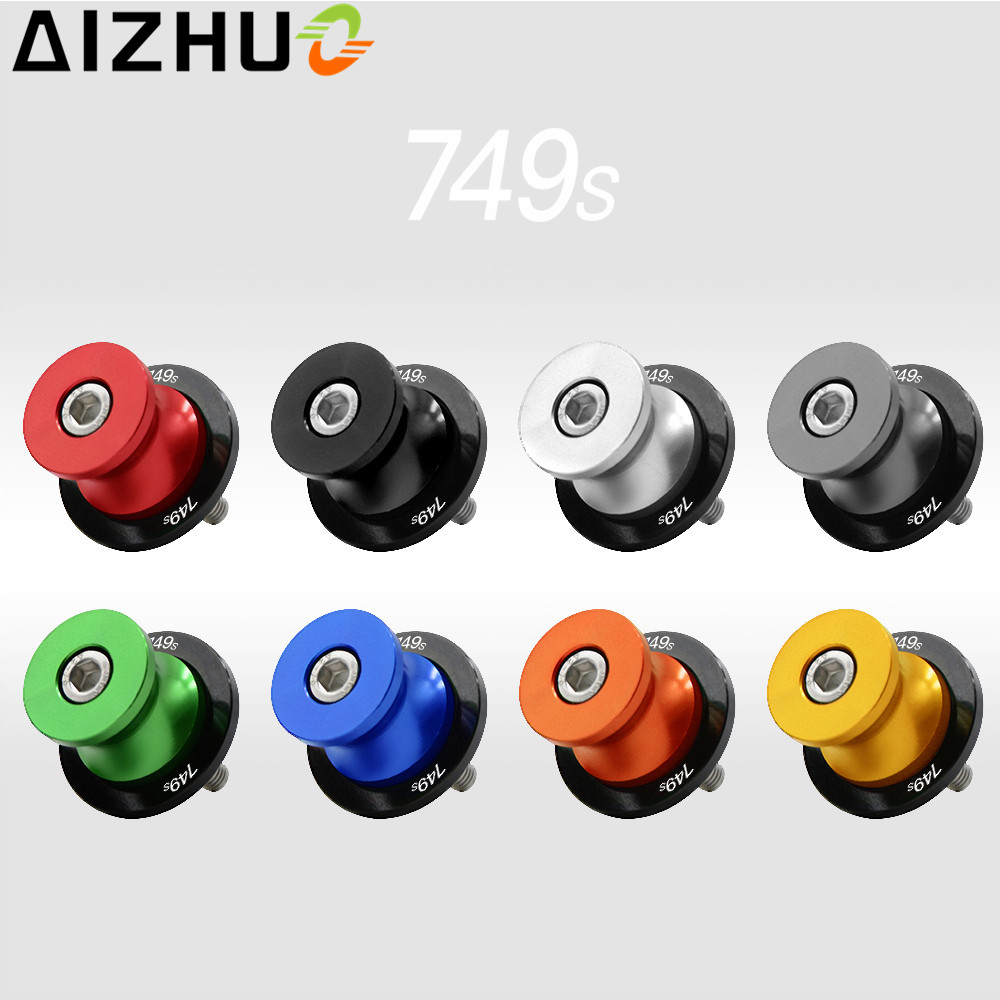 For Ducati 749S 749 S Motorcycle Swingarm Slider Spool 8mm With 749S LOGO CNC Aluminum 8 Color Motorbike Accessory Stand Screws