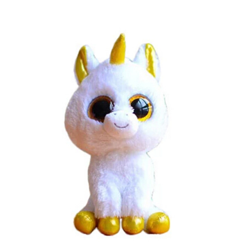 TY Plush Animals White Unicorn TY Beanie Boos Big Eyes 15cm Plush Toy Doll Kawaii for Children Birthday Christmas Gifts Toy ty frizzy домовёнок tang 15 см 37138