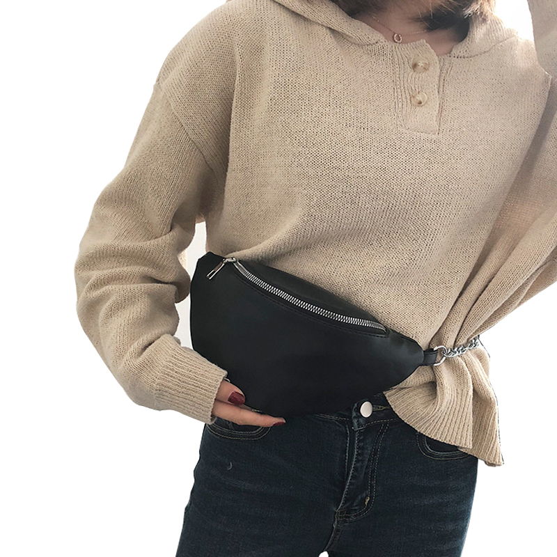 Pu Waist Bag Women Chain Chest Pack Fashion Fanny Packwaterproof Messenger Bags Travel Wallet Belt  Large Capacityshoulder Bag