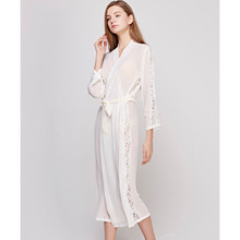 Fashion New Silk Sleeping Robes Women Long-Sleeve Faux Sleepwear Female  Sexy Lace Long Bathrobe Comfortable Soft 0508