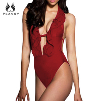PLAVKY 2017 Retro Sexy Deep V Neck Ruffled Trikini Backless Swim Bathing Suit Monokini Swimwear Women