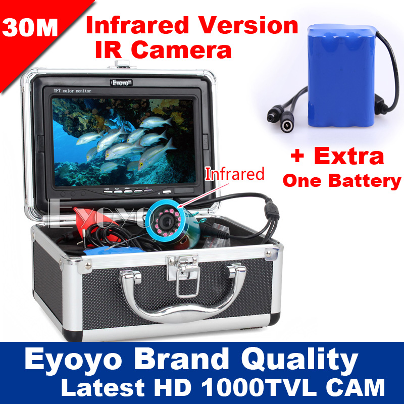 Eyoyo Original 30m Fish Finder Underwater Fishing Video Camera 7 Color Monitor 1000TVL HD CAM Infrared lights+Extra One Battery 7 lcd monitor hd 1000tvl waterproof 100m cable rechargeable battery fish finder underwater fishing video camera with led