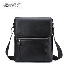 купить BAQI Brand Men Handbags Genuine Leather Cow Leather Men Shoulder Bags High Quality Men Messenger Bag 2019 Fashion Business Bag по цене 2507.55 рублей