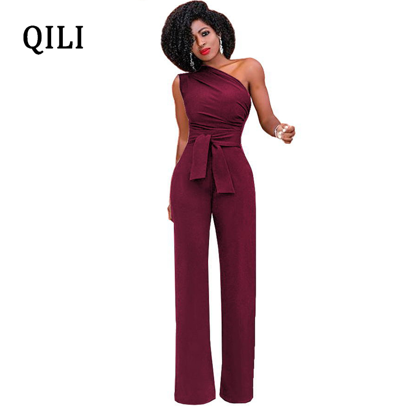 QILI Hot Sale One Shoulder   Jumpsuits   Summer Sleeveless Belt Wide Leg Elegant Lady Casual   Jumpsuits   White Black Blue Red Yellow