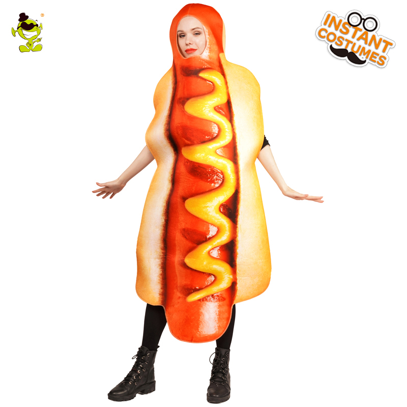 Hot Sale Ladies Hotdog Costume Adult's High Quality Delicious Hotdog Food Long Jumpsuit For Halloween Cosplay Party