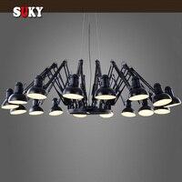 Черный Паук Люстра выдвижной рычаг Ретро промышленные лампы творческий офис магазин одежды бар подвеской освещения