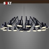 Black Spider Chandelier Retractable arm Retro Industrial lamp Creative Office Clothing Shop Bar Pendent Lighting