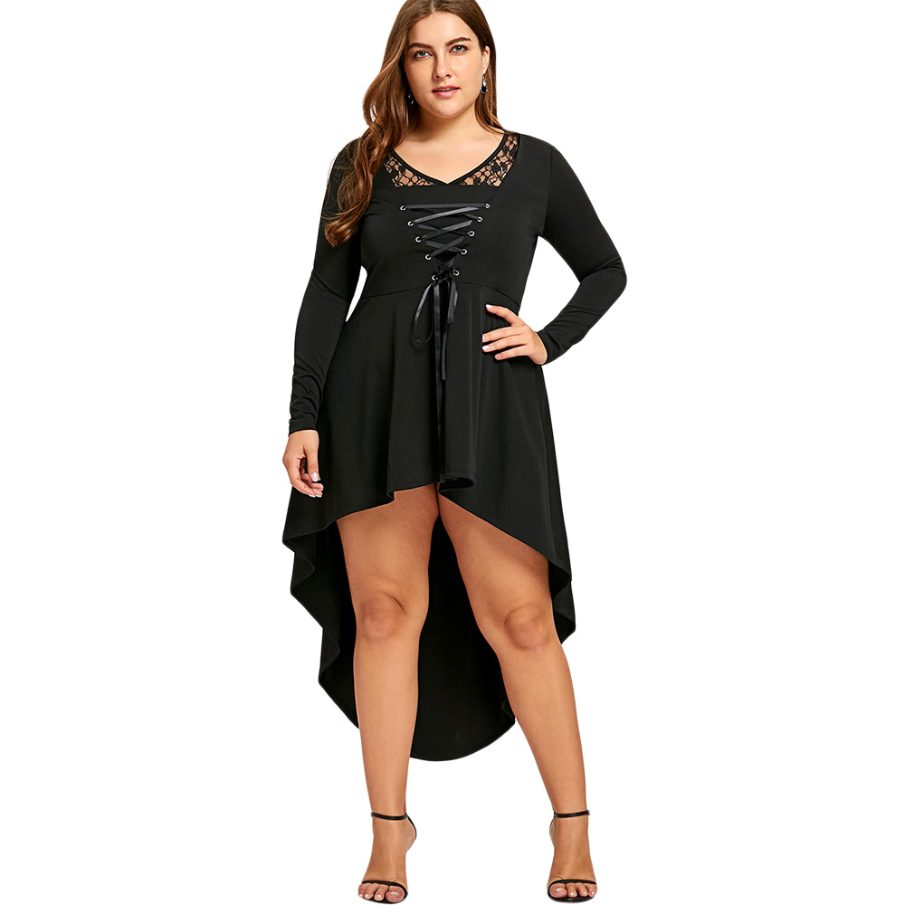 Plus Size Gothic Style Long Sleeves Irregular Dress Black Lace Up High Low Hem Feminino Dress Vestidos de Festa Robe Tunic