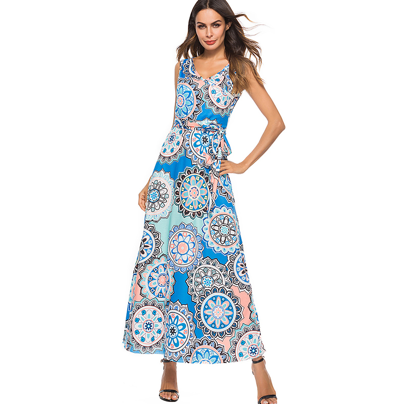 42a883b08d6 Gogoyouth Maxi Women Summer Dress 2018 Elegant Minority Element Print Tunic  Long Beach Party Dress And Sundress Boho Robe Femme-in Dresses from Women s  ...