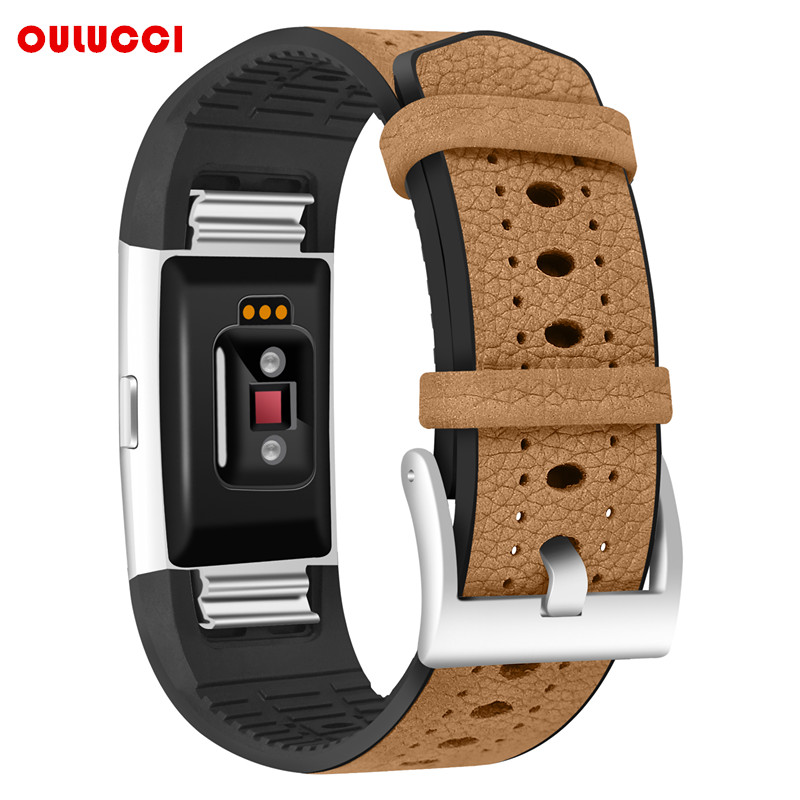 For Fitbit Charge 2 Replacement Bands,  Classic TPU+ Genuine Leather Wristband With Metal Connectors, Fitness Strap For Charge 2