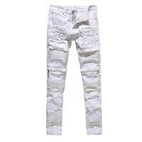 Blanc Noir Rouge Zipper Jeans Hommes Slim Stretch Déchiré Affligé Mens Biker Jeans Skinny Hip Hop Jogger Pantalon Streetwear Pantalon