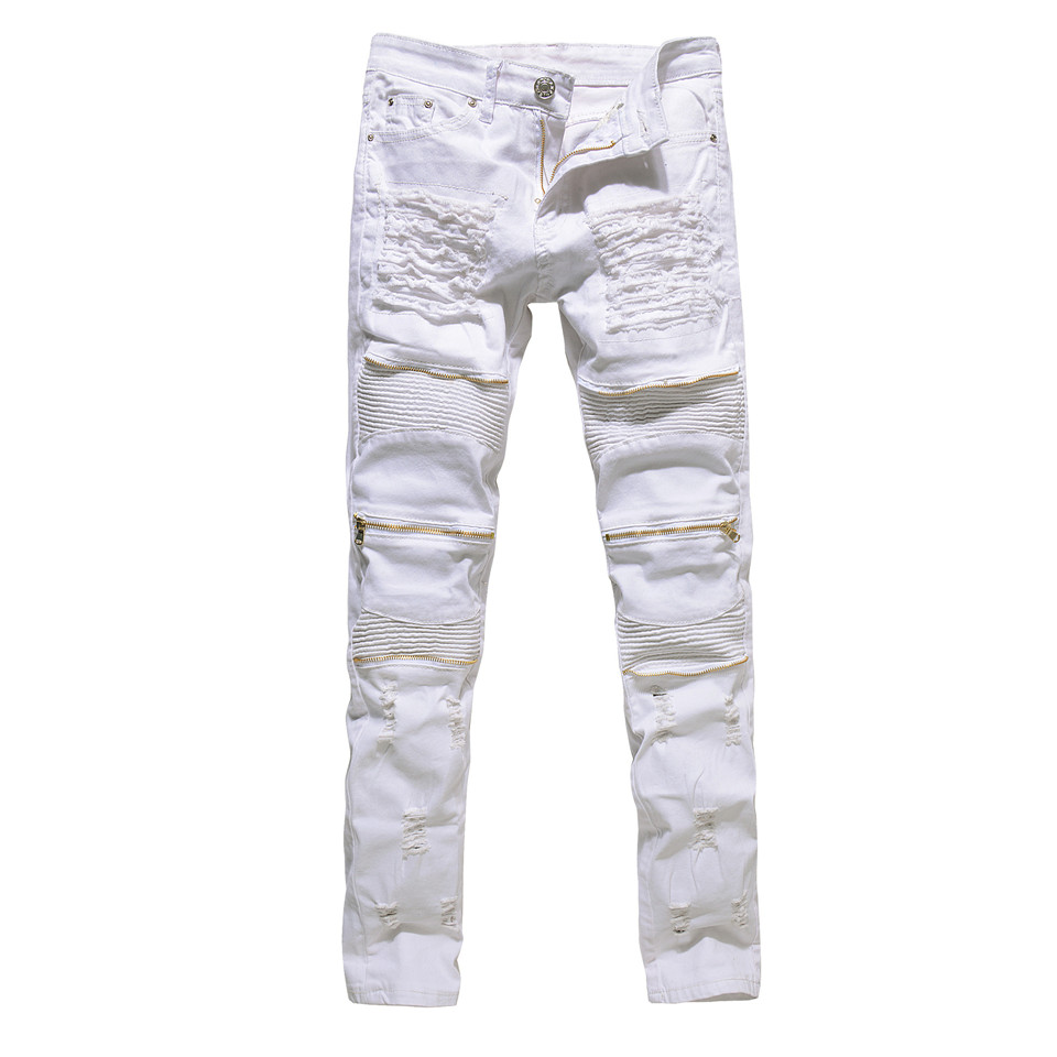 White Black Red Zipper Jeans Men Slim Stretch Ripped Distressed Mens Biker Jeans Skinny Hip Hop Jogger Pants Streetwear Trousers biker jeans mens brand black skinny ripped zipper full length pants hip hop cotton denim distressed pantalones vaqueros hombre