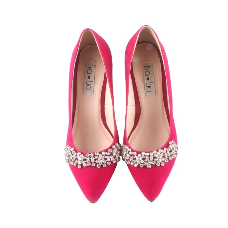 BS002 Custom Made Punta a punta Rosa Fucsia Scarpe Con Il Sacchetto di Corrispondenza Set Scarpe Da Sposa Delle Donne Pattini di Vestito Pompe-in Pumps da donna da Scarpe su  Gruppo 3