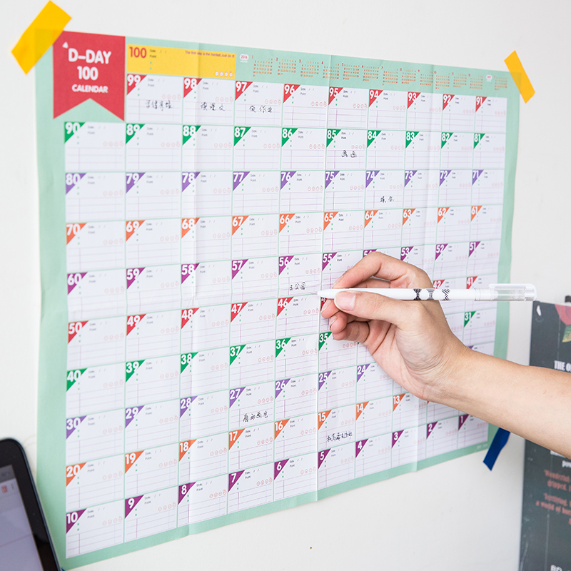 5 Pcs of 100-Day-Countdown Calendar and Planer and Schedule for School Stationery & Office Supply