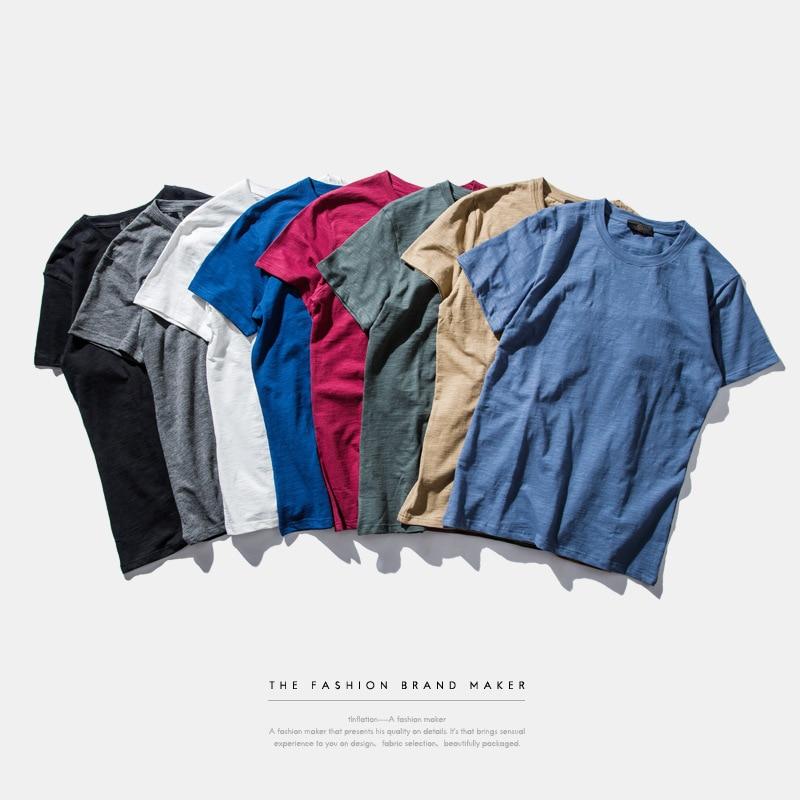 VORAGEM 남성 여름 패션 단색 Slub Cotton T-shirt 단순한 고품질 남성 셔츠 Casual Cotton Tops