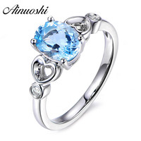 AINUOSHI Pure 925 Sterling Silver Blue Topaz Solitaire Ring 3ct Oval Cut Nice Side Heart Ring For Women's Trendy Jewelry