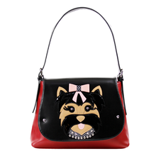 34x25CM Italian 2016  Summer New Fashion Creative Personality Stitching Craft Creative Dog Shoulder Female Bag A2657~3