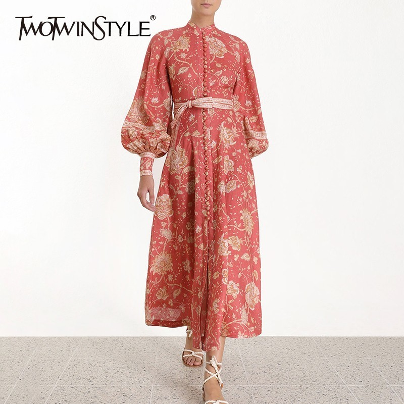TWOTWINSTYLE Vintage Print Women Dress Stand Collar Lantern Sleeve High Waist Button Lace Up Midi Dresses